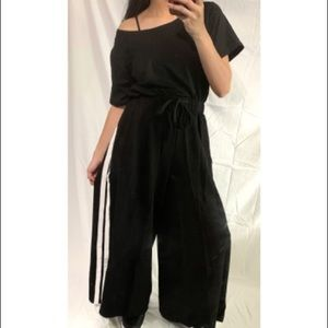 One size fits ALL Striped wide leg Track Suit